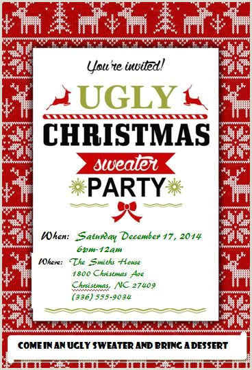Ugly Christmas Sweater Party Invitations FREE Downloads