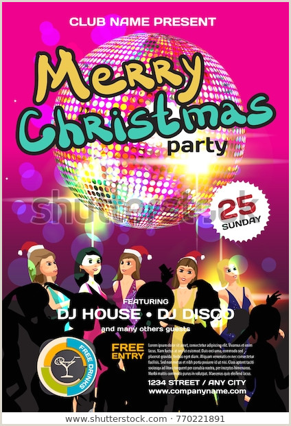 Christmas Party Invite Samples Vector Christmas Party Invitation Disco Style Stock Vector