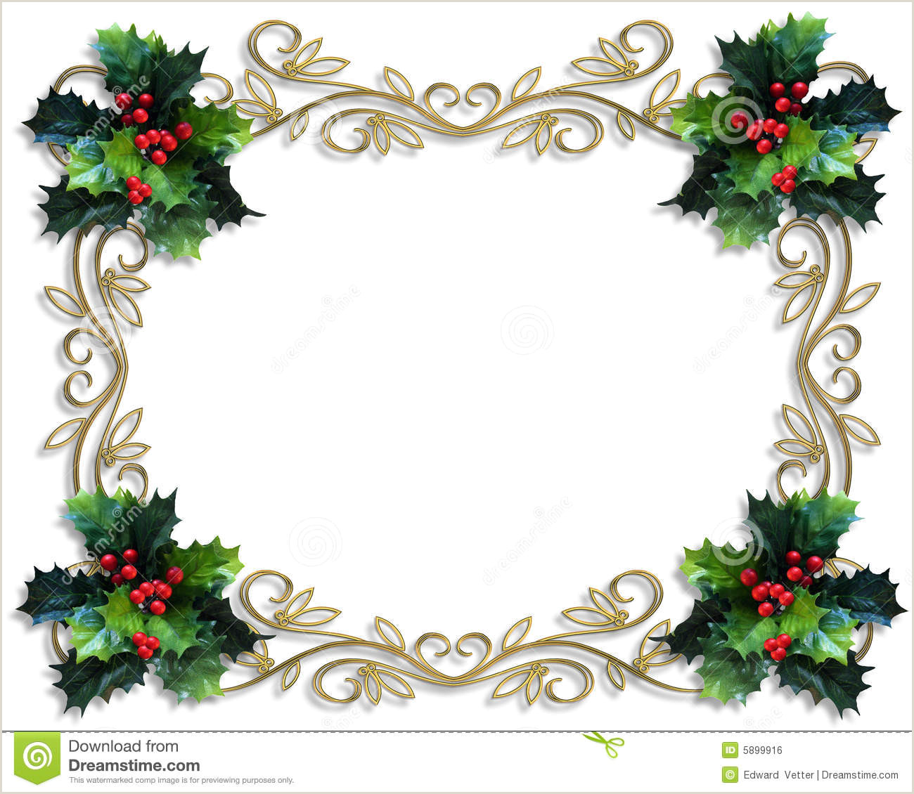Christmas Photo Frames Templates Free Christmas Border Holly Gold Frame Stock Illustration