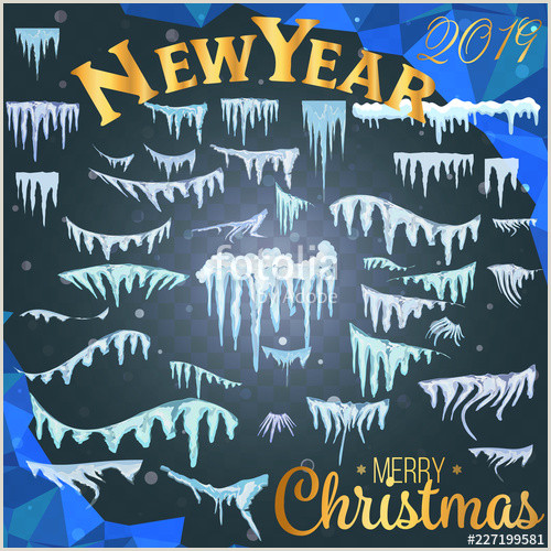 Christmas Photo Frames Templates Free Snow Ice Icicle Set Winter Design White Blue Snow Template