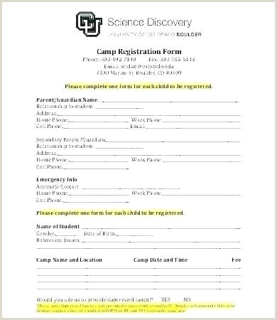 Church Camp Registration form Template event Application Template