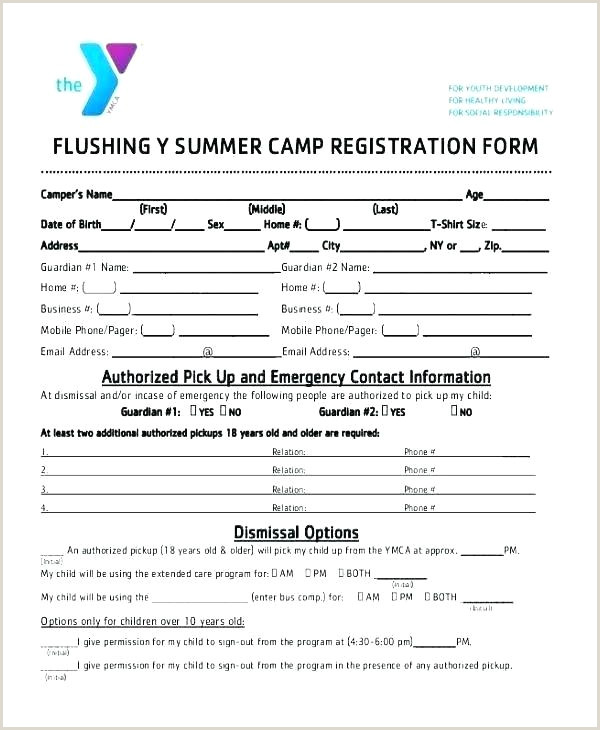 Church Camp Registration form Template Summer Camp Template Flyer Program Application Registration