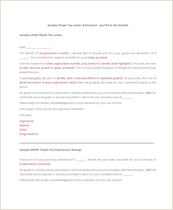 Church Thank You Letter for Donation 16 Sample Thank You Letters for Donations Doc Pdf