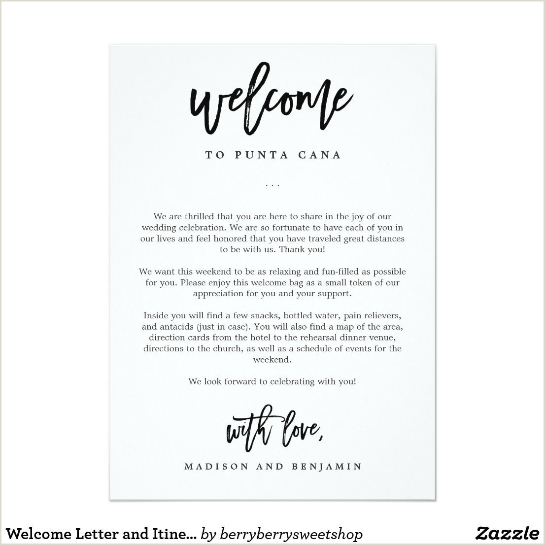 Church Thank You Letter Wel E Letter and Itinerary Wedding Wel E Bag