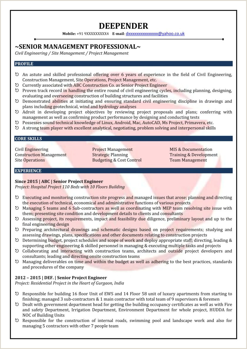 Civil Engineer Fresher Resume format Doc Free Download Civil Engineer Cover Letter Example Resume Genius Tem