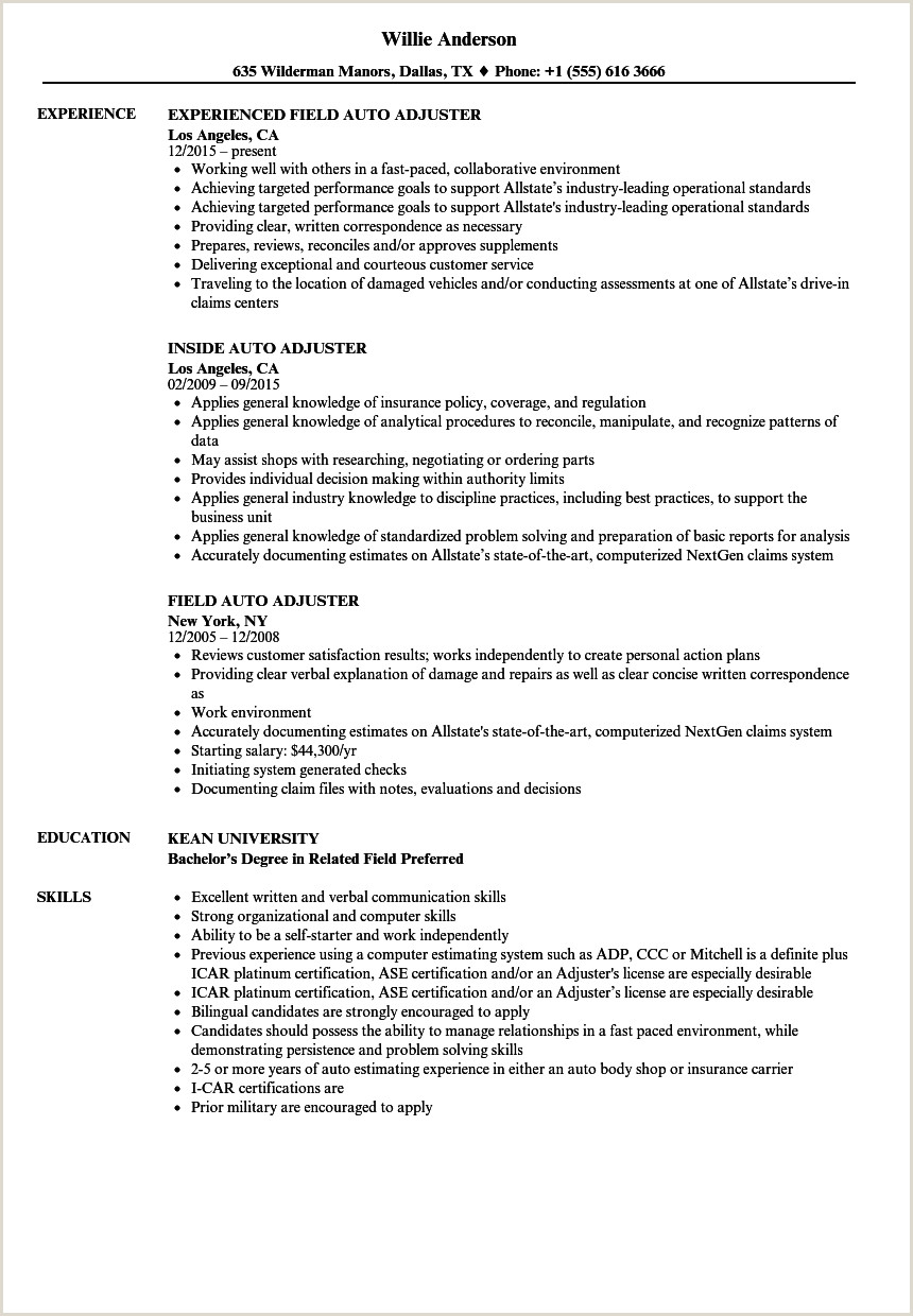 Claims Adjuster Resume Template Inspirational Insurance