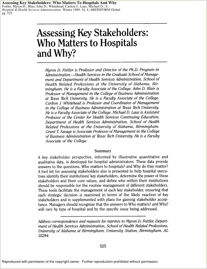 PDF Assessing key stakeholders Who matters to hospitals
