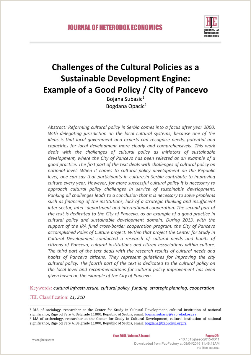 PDF Challenges of the Cultural Policies as a Sustainable