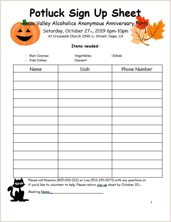 Halloween Potluck Sign Up Sheet Ideas