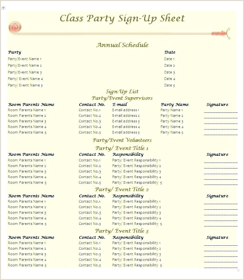 Preschool Sign In Sheet Sheets Snack Up Parent For Snacks S