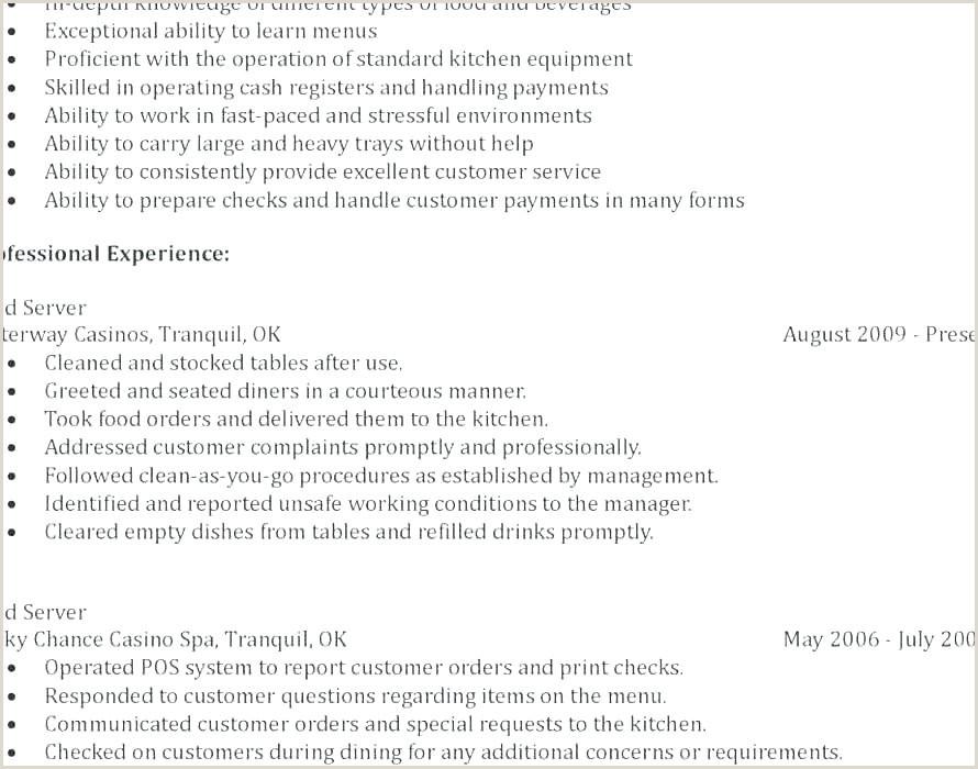 Bartender Job Description for Resume Best Resume Waitress