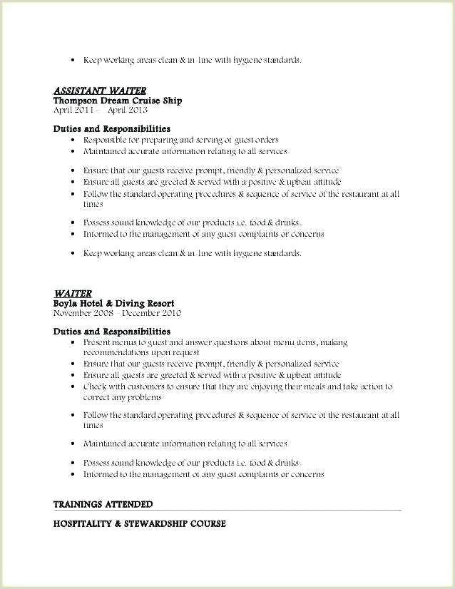 Waitress Job Description For Resume Best Head Waiters