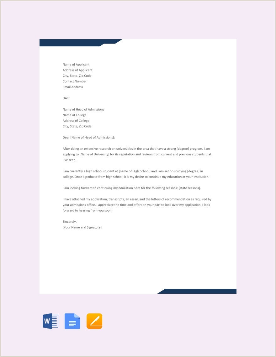 College Application Essay Header 11 Sample College Application Letters Pdf Doc