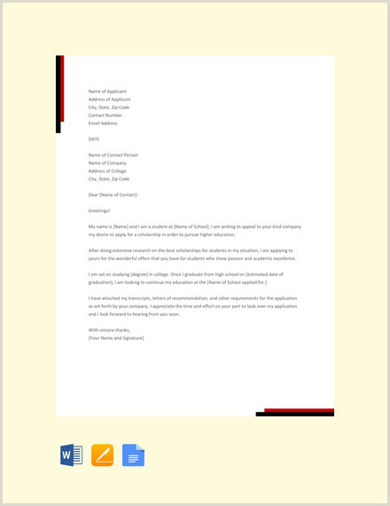 College Degree Template Free 12 Scholarship Application Letter Templates Pdf Doc