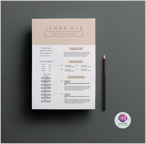 2 page CV template cover letter template pastel color