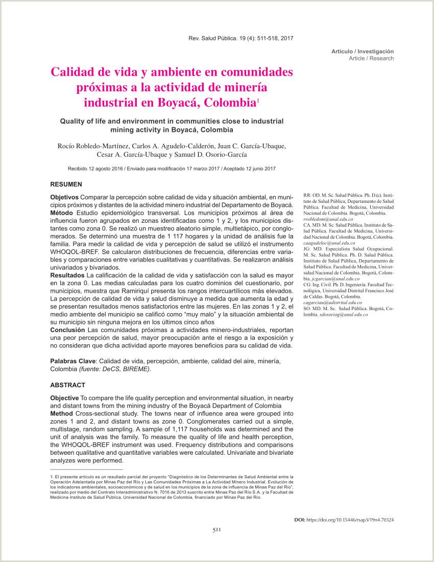 PDF Calidad de vida y ambiente en unidades pr³ximas a la