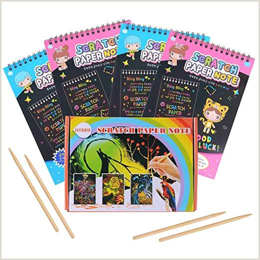 LUCKDAY Manualidades para Ni±os Manualidades para Rascar Scratch Art 4 Cuadernos para Dibujar Papel de Rascar Incluye 4 Lápices de Madera