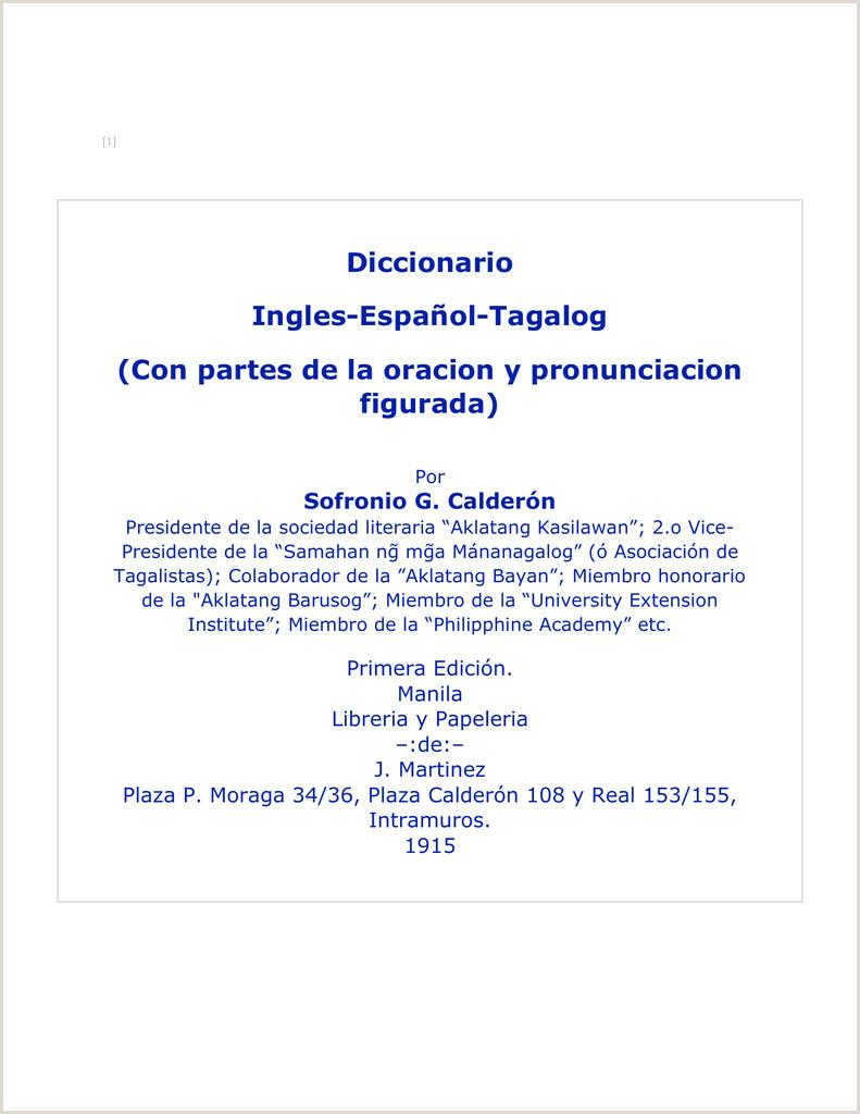 Diccionario Ingles Espa±ol Tagalog Con partes de la