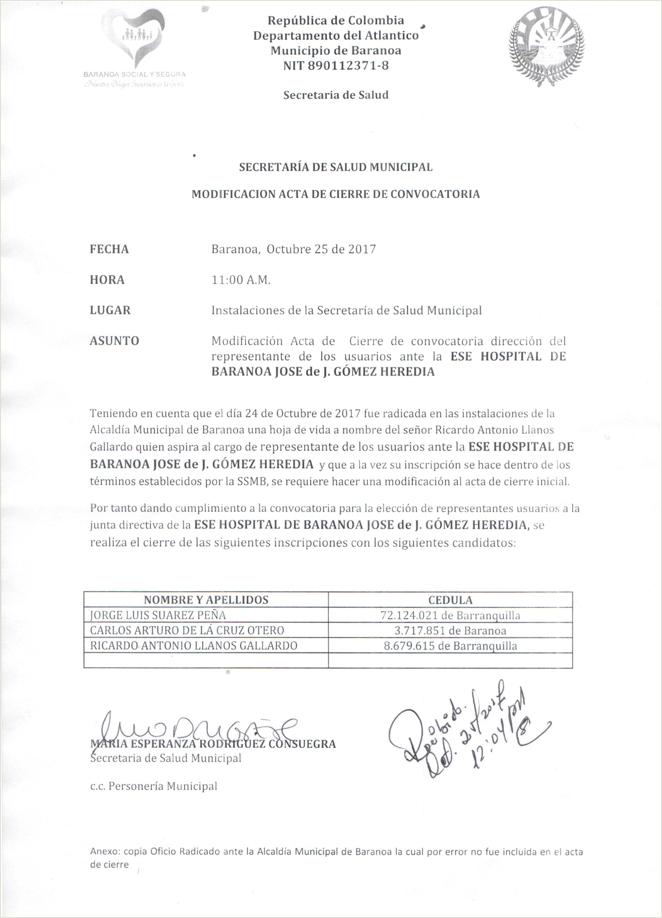 Circular Modificaci³n Acta De Cierre De Convocatoria