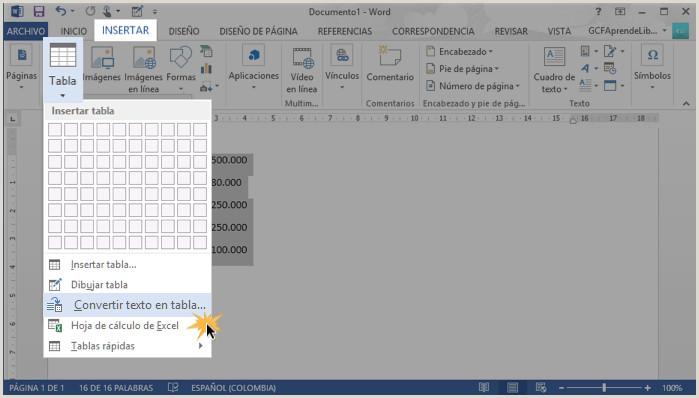 Word 2013 C³mo convertir un texto en una tabla