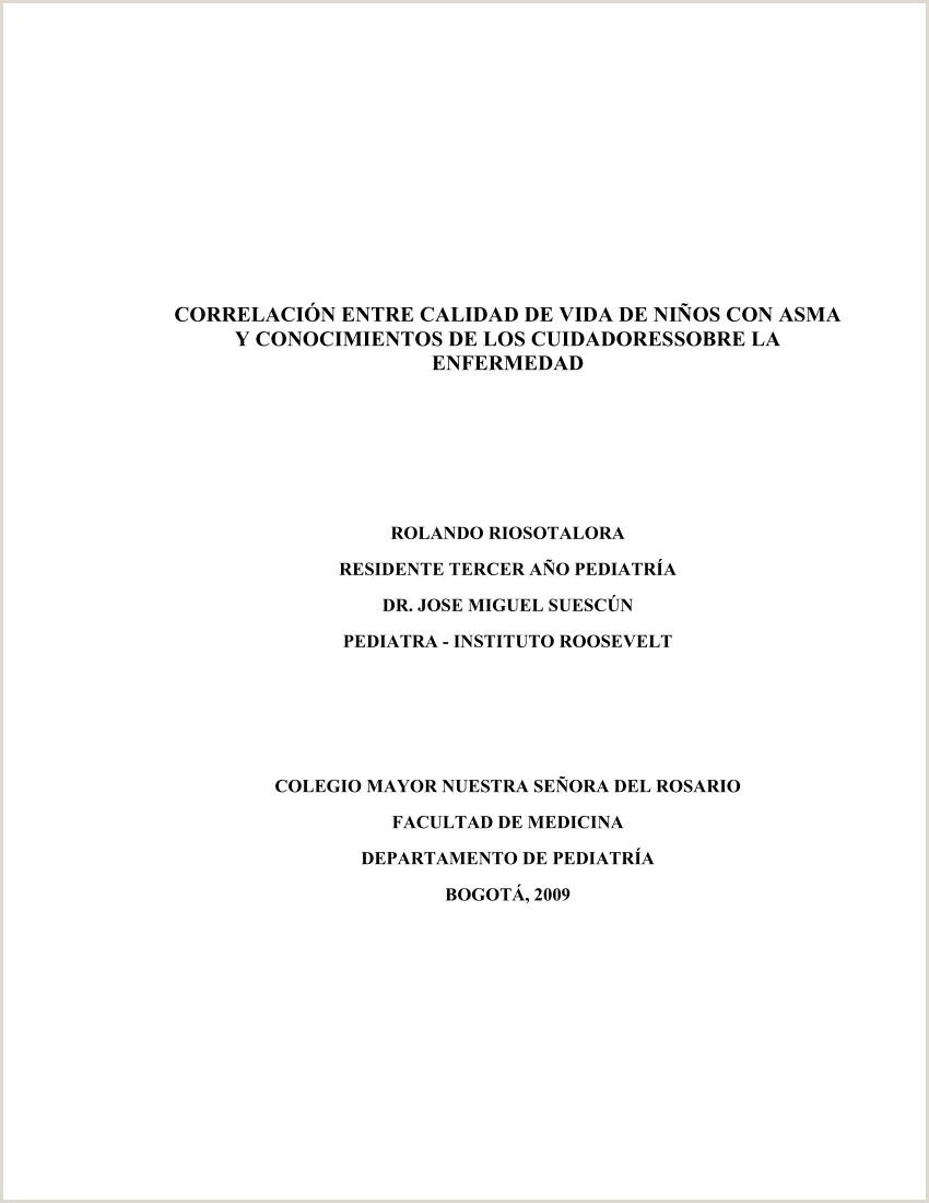 PDF Correlaci³n entre calidad de vida de ni±os con asma y