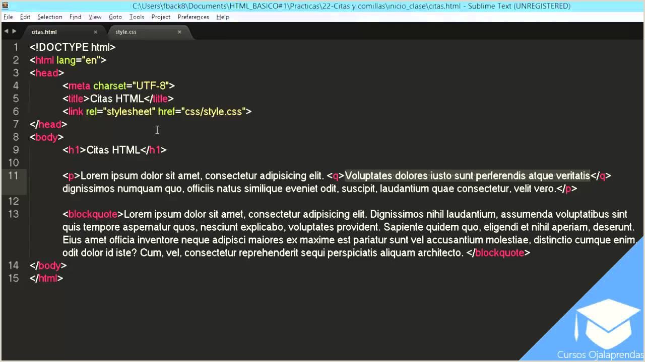 Usando Citas y illas en HTML5 clase 21