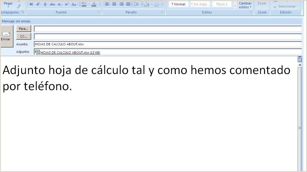 Envia tus hojas de cálculo Excel por email