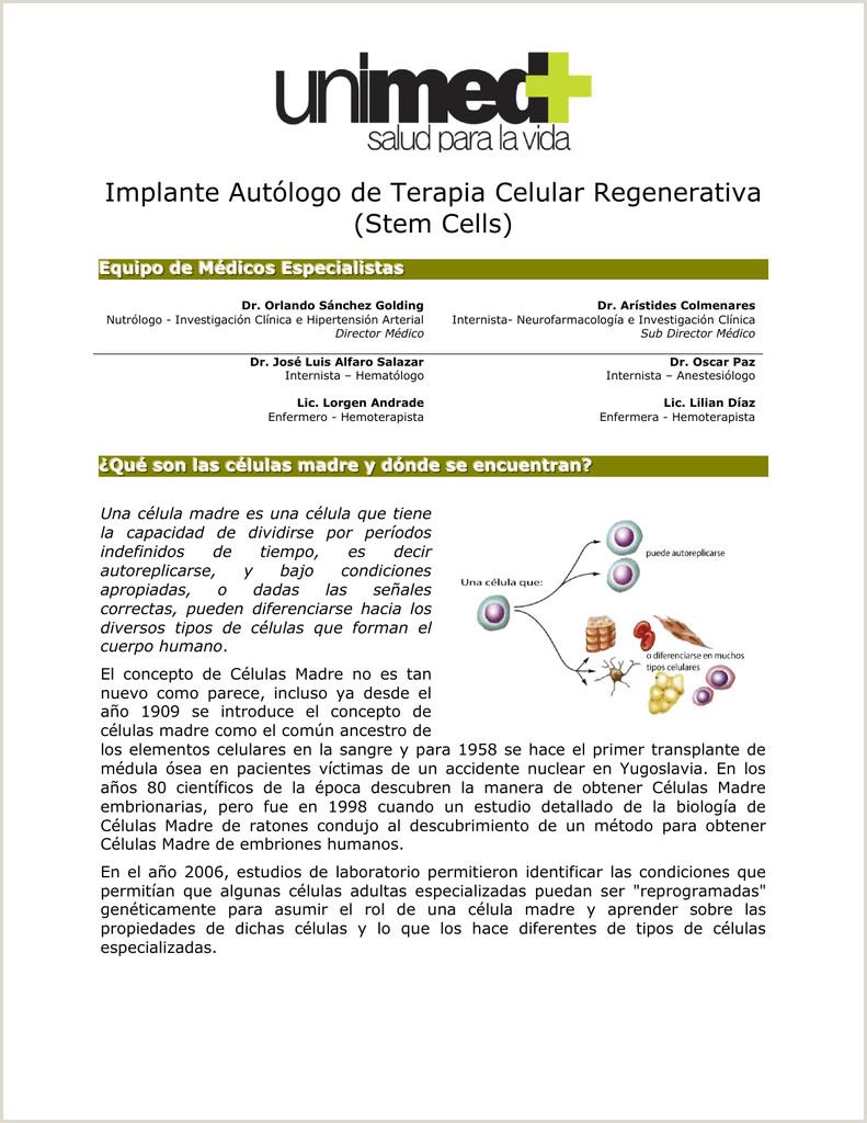 Implante Aut³logo de Terapia Celular Regenerativa