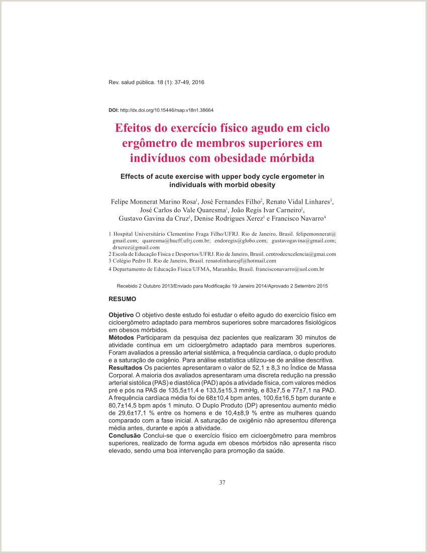 PDF Efeitos del Ejercicio Aguda en Eerg³metro del Cuerpo