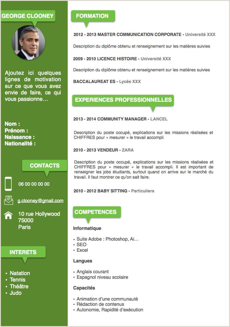 Exemple de cv en ligne gratuit Mod¨le CV