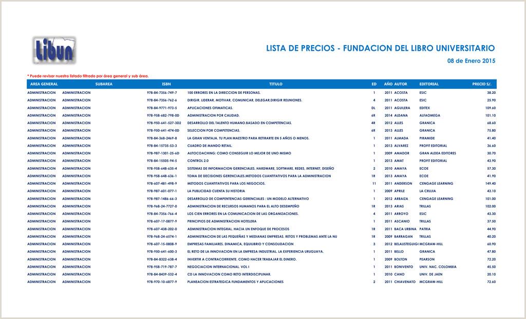 lista de precios fundacion del libro universitario