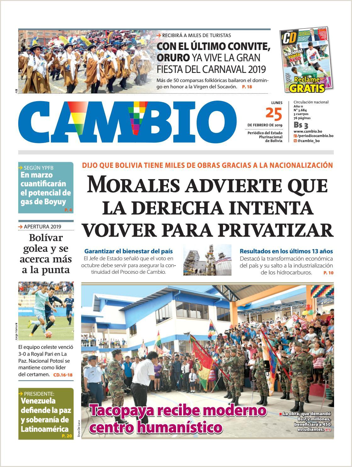 Edicion Impresa 25 02 19 by Cambio Peri³dico del Estado
