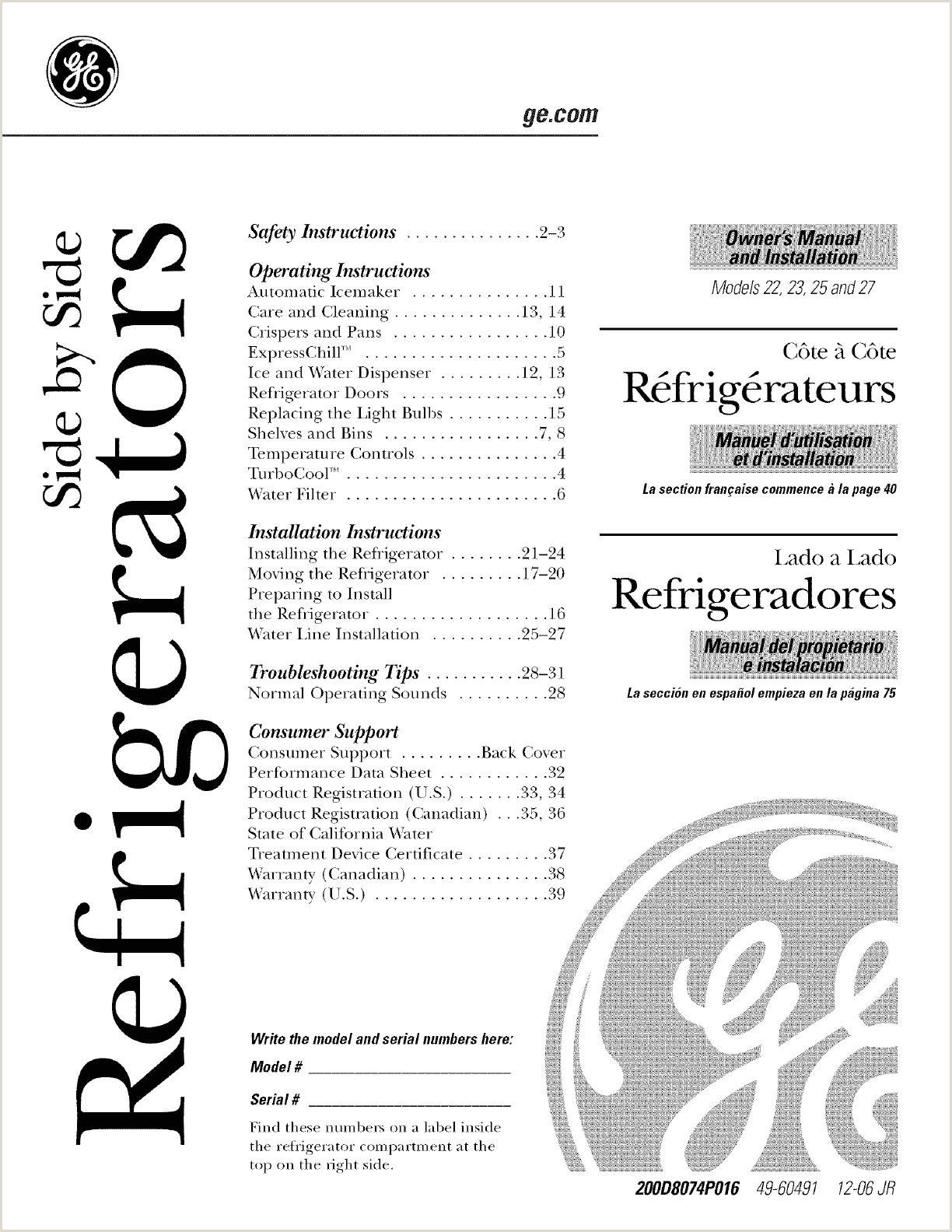 GE CSCP5UGXAFSS User Manual REFRIGERATOR X SERIES Manuals