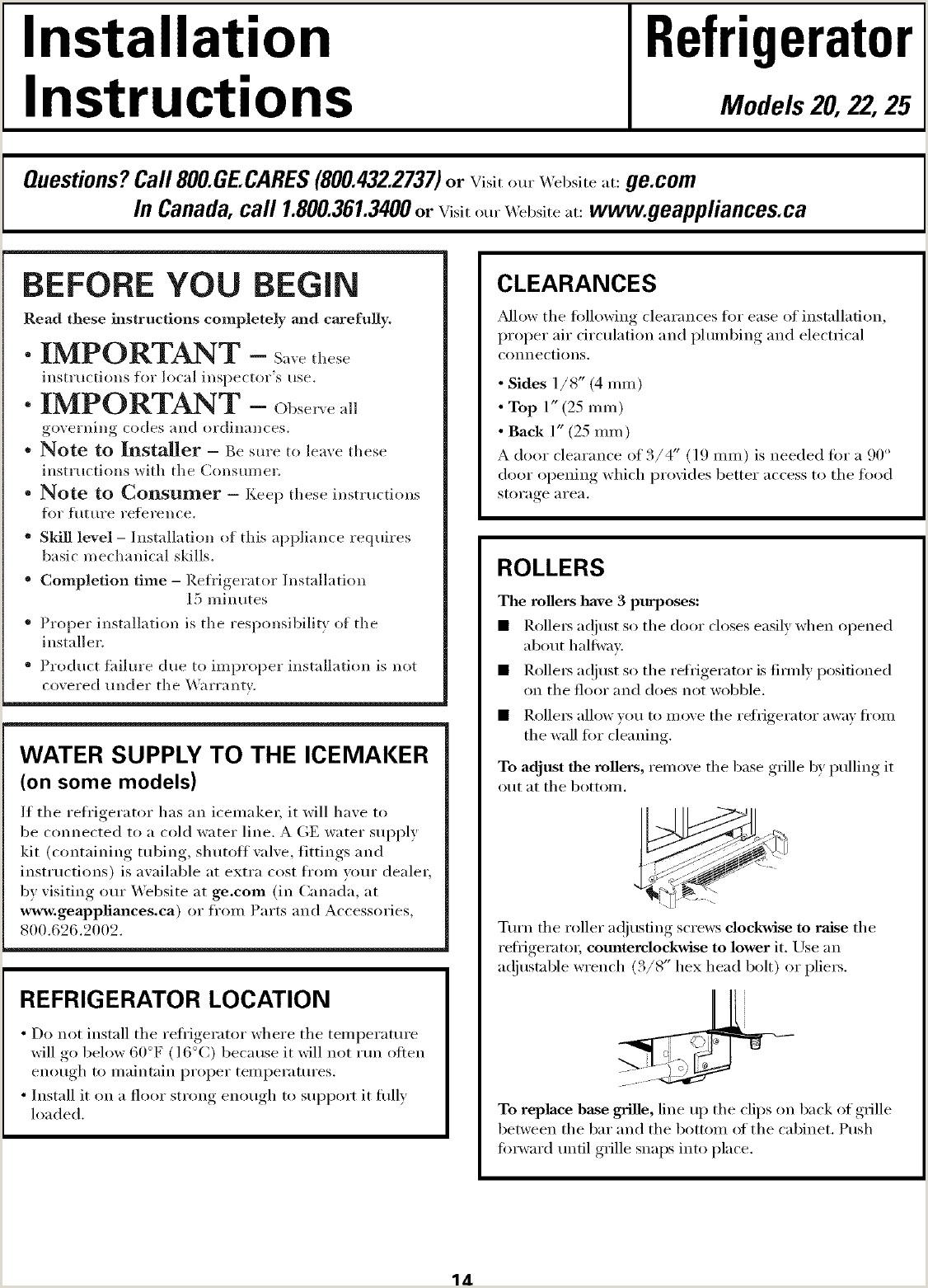 Como Hacer Una Hoja De Vida Para Trabajar En Canada Ge Gsh22jsrjss User Manual Refrigerator R Series Manuals and