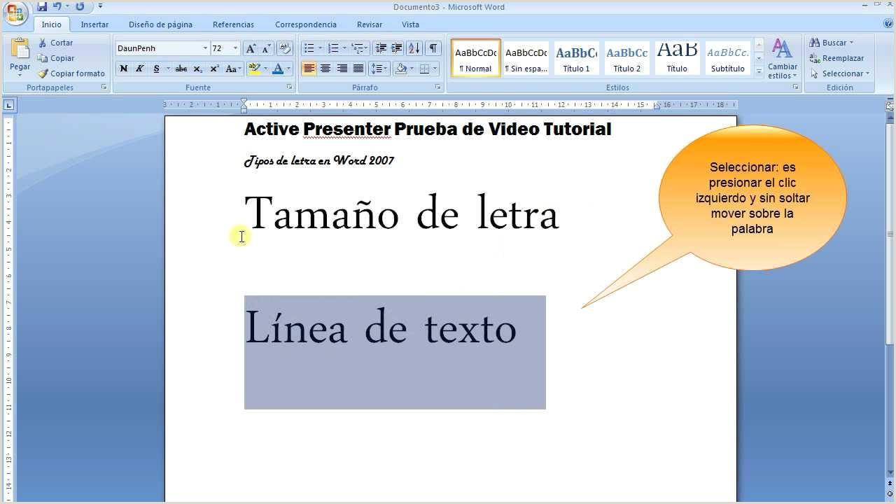 Tama±o y Tipo de letra en Word