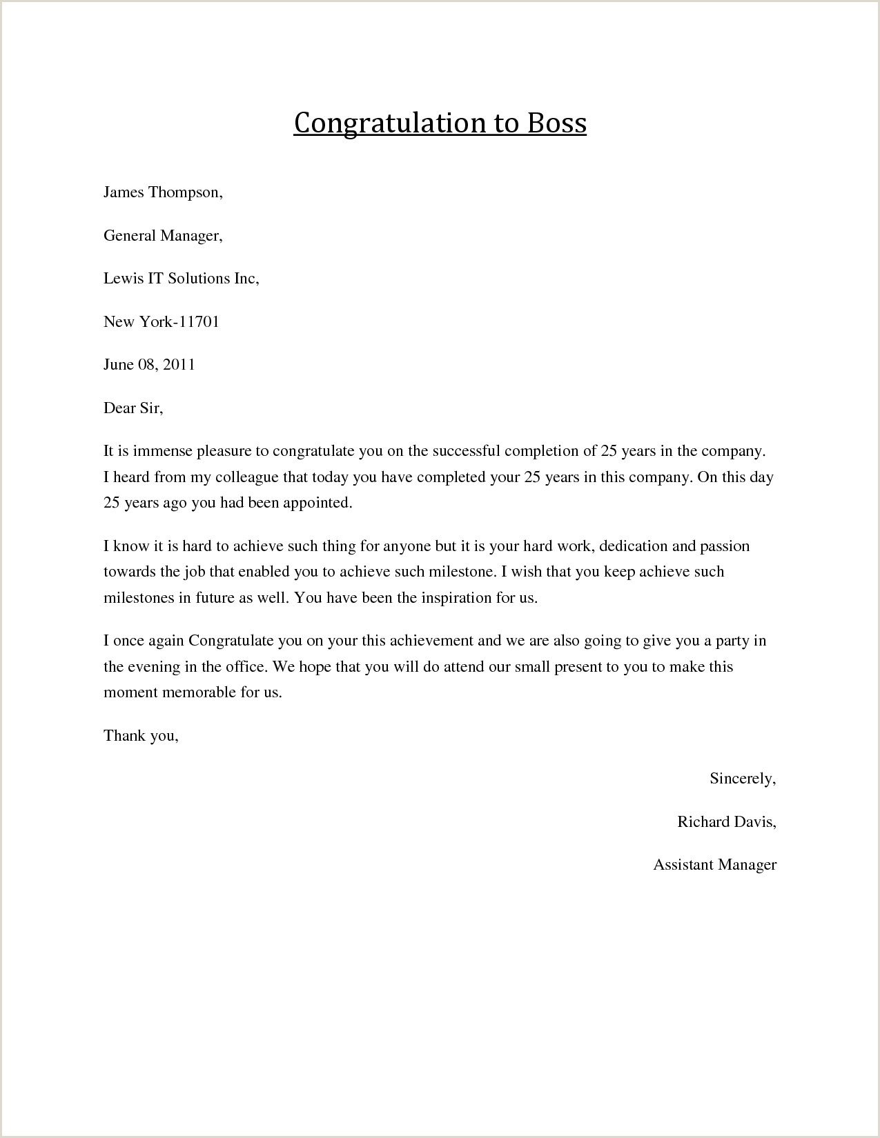 Congratulatory Letter for Award Congratulations Letter to Boss Job Congratulations formal