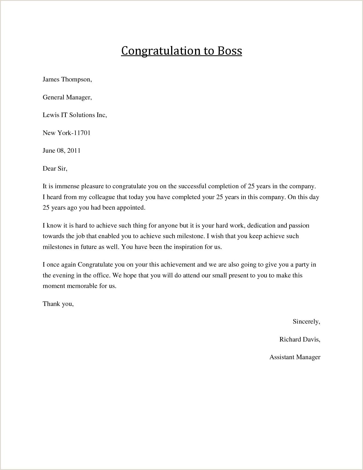 Congratulatory Letter for Award Congratulations Letter to Boss Job Congratulations formal