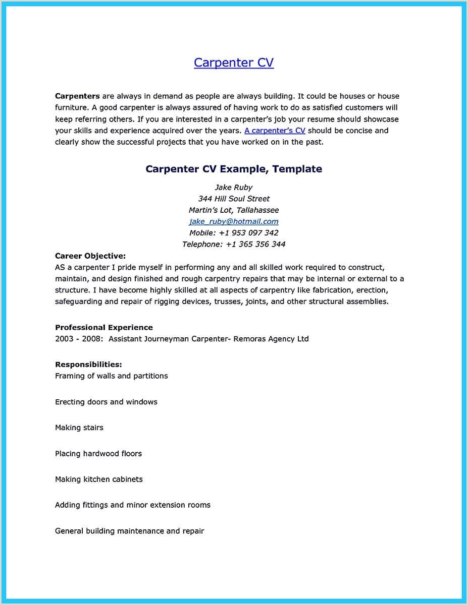 Construction Carpenter Resume Pin On Resume Template