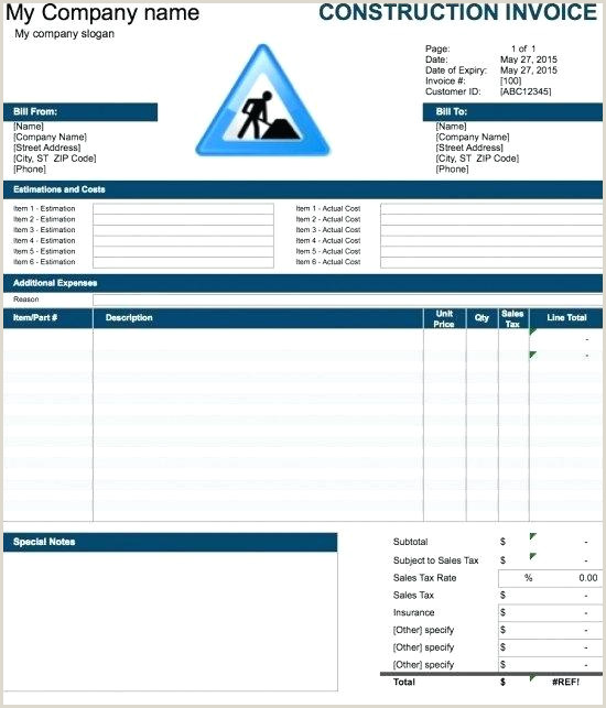 Invoice Template Free Construction Invoice Template Excel