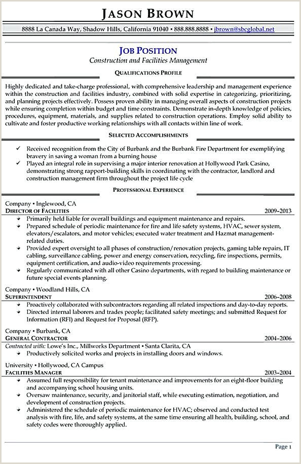 Construction Management Resume Objective Construction and Facilities Manager Resume Facility