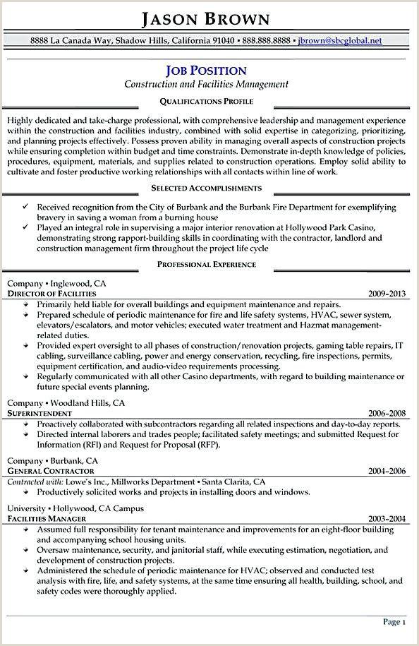 Construction Management Resume Objective Construction and Facilities Manager Resume Facility