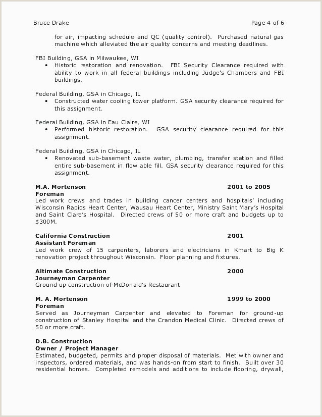 Construction Resume Examples Free It Resume Example Fresh