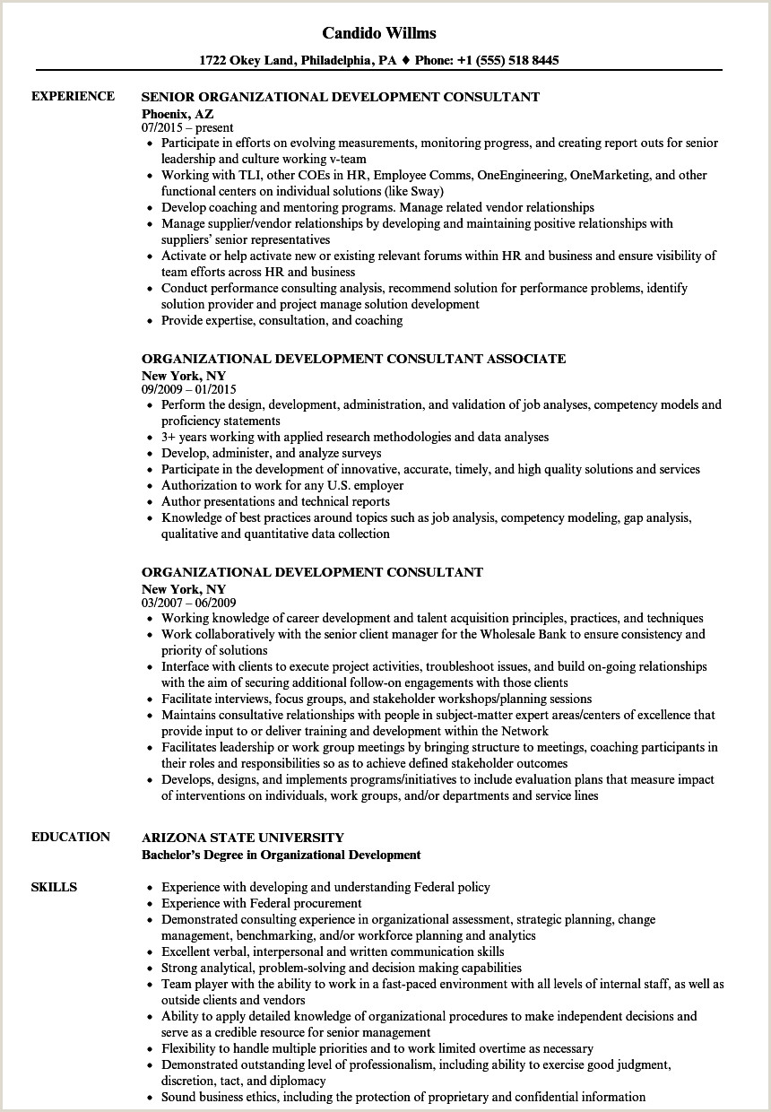 Consulting Resume Mckinsey organizational Development Consultant Resume Samples