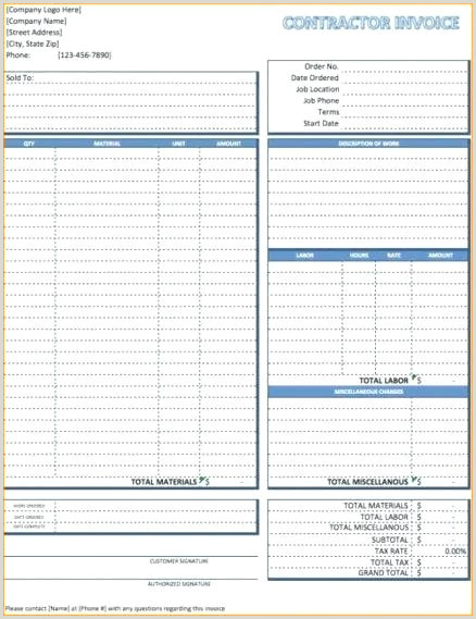 Contractor Invoice Book Contractor Receipt Template