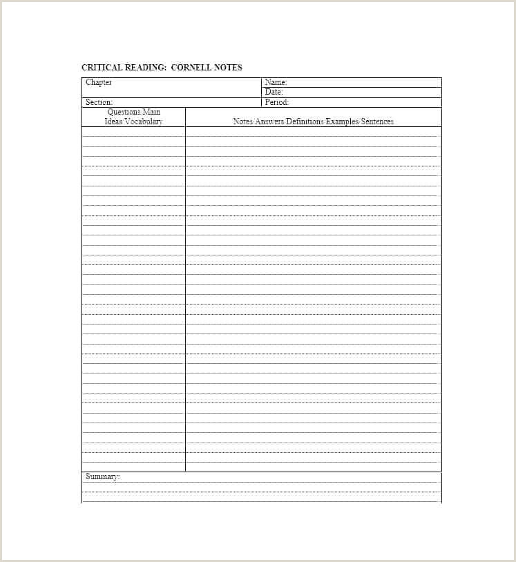 Cornell Notes For Math Template Aids Printable Note Taking