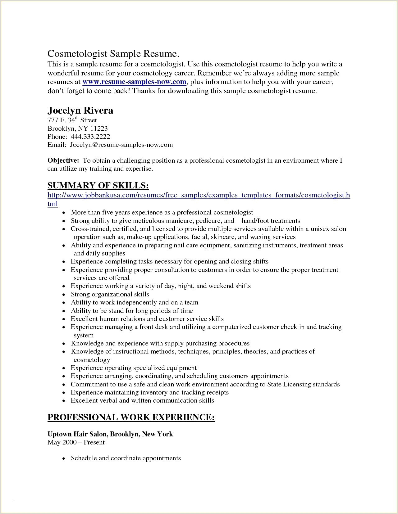 Resume Examples For Cosmetology Beginners Best