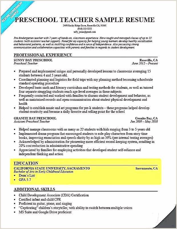 Resume Template for Education Professional Teacher Resume
