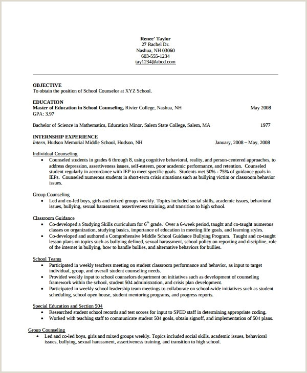 Counselor Resume Template School Counselor Resume Template – Sample Guidance Counselor