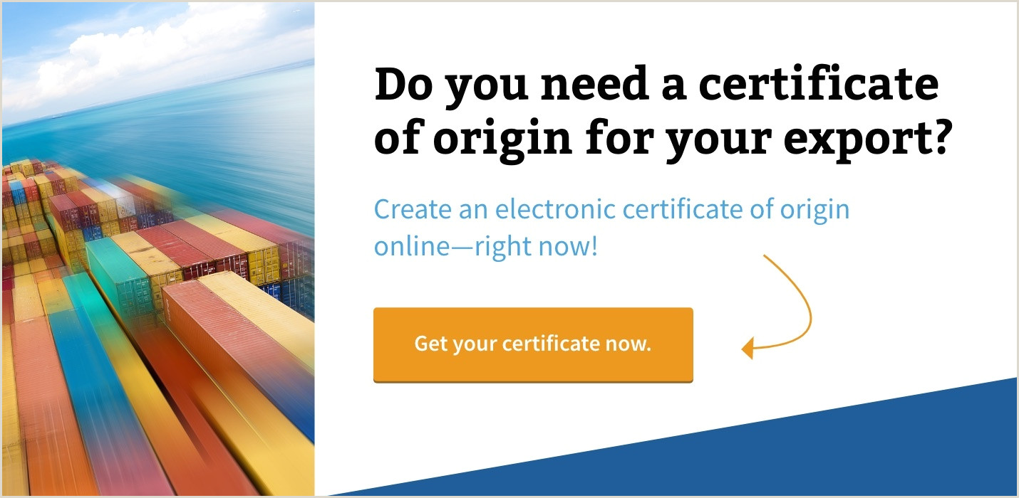 Certificate of Origin Requirements for Exports