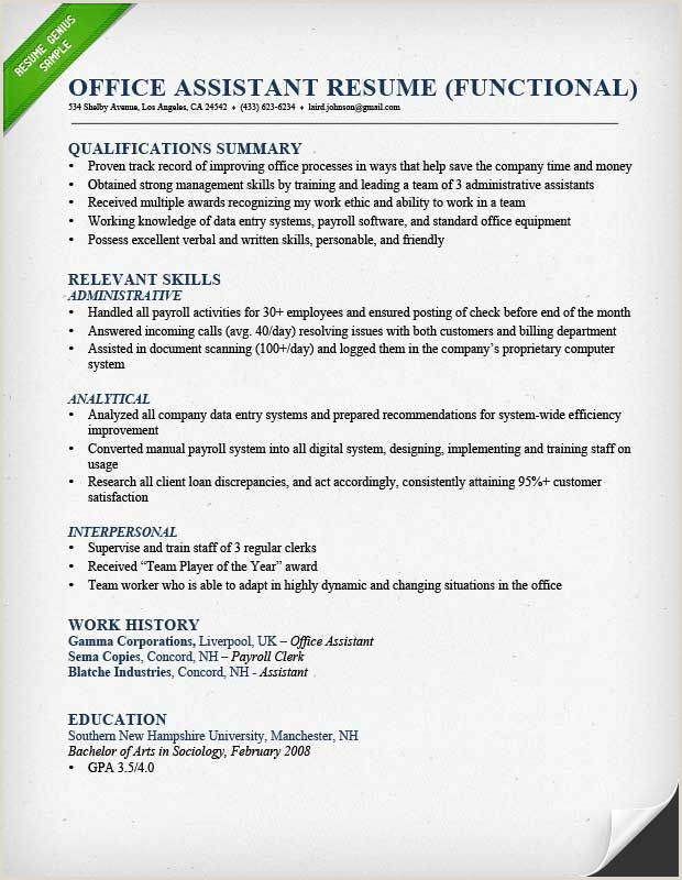 functional resume for an office assistant